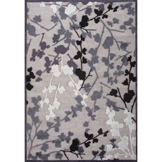 Contemporary Floral & Leaves Pattern Gray/Black Rayon And Chenille Area Rug (9X12)