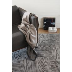 Contemporary Abstract Pattern Gray/Taupe Rayon and Chenille Area Rug (9x12)