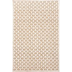 Contemporary Tribal Pattern Taupe/Ivory Rayon And Chenille Area Rug (9X12)