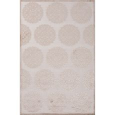 Contemporary Medallion Pattern Ivory/Taupe Rayon And Chenille Area Rug (9X12)