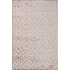 Contemporary Floral & Leaves Pattern Ivory/Taupe Rayon And Chenille Area Rug (9X12)