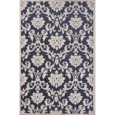 Contemporary Damask Pattern Blue/Ivory Rayon And Chenille Area Rug (9X12)