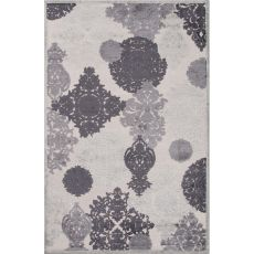 Contemporary Damask Pattern Ivory/Gray Rayon And Chenille Area Rug (9X12)