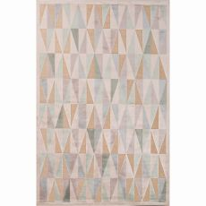 Contemporary Tribal Pattern Ivory/White Rayon And Chenille Area Rug (9X12)