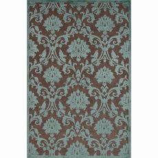 Contemporary Damask Pattern Brown/Blue Rayon And Chenille Area Rug (9X12)