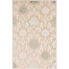 Contemporary Damask Pattern Ivory/White Rayon And Chenille Area Rug (9X12)