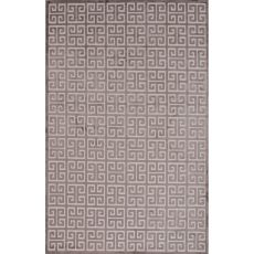 Contemporary Trellis, Chain And Tile Pattern Ivory/Brown Rayon And Chenille Area Rug (9X12)
