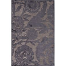 Contemporary Floral & Leaves Pattern Gray Rayon And Chenille Area Rug (9X12)