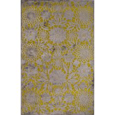 Contemporary Floral & Leaves Pattern Green/Gray Rayon And Chenille Area Rug (9X12)