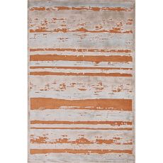 Contemporary Abstract Pattern Orange/Taupe Rayon And Chenille Area Rug (9X12)