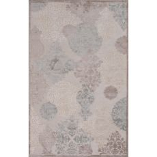 Contemporary Damask Pattern Ivory/Taupe Rayon And Chenille Area Rug (9X12)