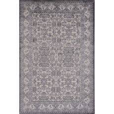 Contemporary Oriental Pattern Ivory/Gray Rayon And Chenille Area Rug (9X12)