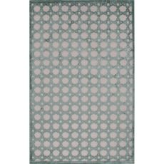 Contemporary Trellis, Chain And Tile Pattern Ivory/Blue Rayon And Chenille Area Rug (9X12)