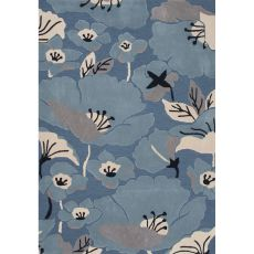 Contemporary Floral & Leaves Pattern Blue/Taupe Polyester Area Rug (7.6X9.6)
