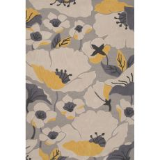 Contemporary Floral & Leaves Pattern Gray/Yellow Polyester Area Rug (7.6X9.6)