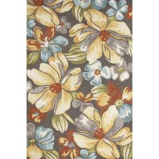 Contemporary Floral & Leaves Pattern Dark Gray/Yellow Polyester Area Rug (7.6X9.6)