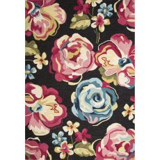 Contemporary Floral & Leaves Pattern Black/Pink Polyester Area Rug (7.6X9.6)