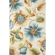 Contemporary Floral & Leaves Pattern Ivory/Blue Polyester Area Rug (7.6X9.6)