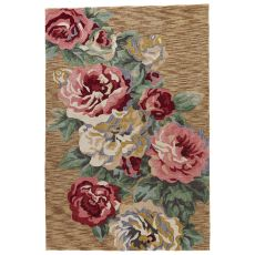Contemporary Floral & Leaves Pattern Brown/Pink Polyester Area Rug ( 7.6X9.6)