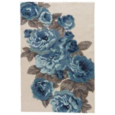Contemporary Floral & Leaves Pattern White/Blue Polyester Area Rug ( 7.6X9.6)