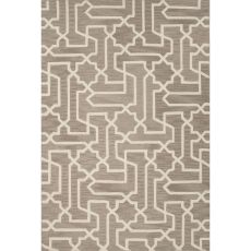Contemporary Trellis, Chain And Tile Pattern Taupe/Tan Polyester Area Rug (9X12)