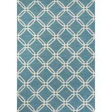Contemporary Trellis, Chain And Tile Pattern Blue/Ivory Polyester Area Rug (7.6X9.6)