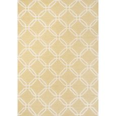 Contemporary Trellis, Chain And Tile Pattern Yellow/Ivory Polyester Area Rug (7.6X9.6)