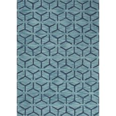 Contemporary Tribal Pattern Blue Polyester Area Rug (7.6X9.6)