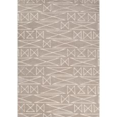 Contemporary Tribal Pattern Natural/Ivory Polyester Area Rug (7.6X9.6)