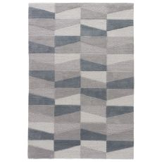 Youth Geometric Pattern Gray/Blue Polyester Area Rug ( 7.6X9.6)