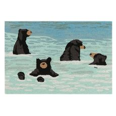 "Liora Manne Frontporch Bathing Bears Indoor/Outdoor Rug Water 20""x30"""
