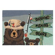 "Liora Manne Frontporch Fishing Bears Indoor/Outdoor Rug Green 20""x30"""