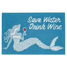 "Liora Manne Frontporch Save Water Drink Wine Indoor/Outdoor Rug Ocean 20""X30"""