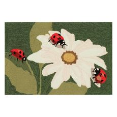 "Liora Manne Frontporch Ladybugs Indoor/Outdoor Rug Green 20""x30"""