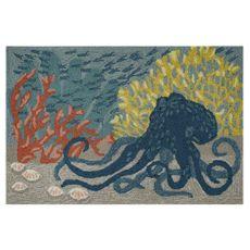 """Liora Manne Frontporch Octopus Indoor/Outdoor Rug Ocean 20""""x30"""""""