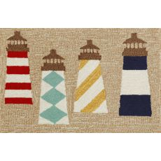 "Liora Manne Frontporch Lighthouses Indoor/Outdoor Rug - Natural, 30"" by 48"""