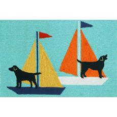 "Liora Manne Frontporch Sailing Dog Indoor/Outdoor Rug - Blue, 30"" By 48"""