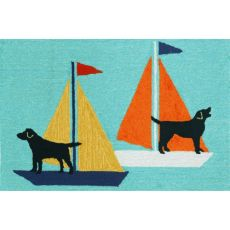 Sailing Dogs Indoor/Outdoor Rug Blue