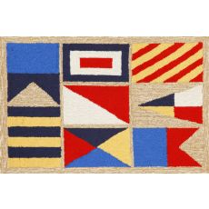 "Liora Manne Frontporch Signal Flags Indoor/Outdoor Rug - Natural, 24"" By 36"""