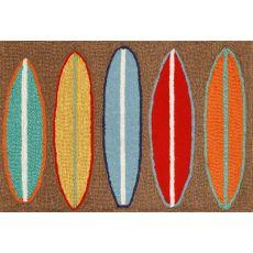 """Liora Manne Frontporch Surfboards Indoor/Outdoor Rug - Brown, 20"""" by 30"""""""
