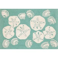 Shell Toss Indoor/Outdoor Rug  Aqua