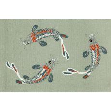 """Liora Manne Frontporch Koi Fish Indoor/Outdoor Rug - Blue, 30"""" by 48"""""""