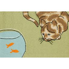 """Liora Manne Frontporch Curious Cat Indoor/Outdoor Rug - Green, 30"""" By 48"""""""
