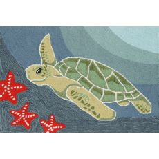 "Liora Manne Frontporch Sea Turtle Indoor/Outdoor Rug - Blue, 24"" By 36"""