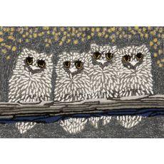 """Liora Manne Frontporch Owls Indoor/Outdoor Rug - Grey, 30"""" By 48"""""""