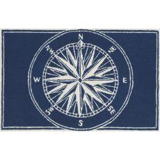 "Liora Manne Frontporch Compass Indoor/Outdoor Rug - Navy, 24"" by 36"""