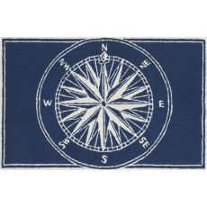 "Liora Manne Frontporch Compass Indoor/Outdoor Rug - Navy, 30"" By 48"""