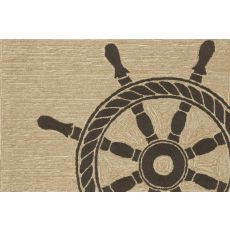 "Liora Manne Frontporch Ship Wheel Indoor/Outdoor Rug - Natural, 24"" by 36"""