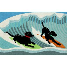 "Liora Manne Frontporch Surfing Dogs Indoor/Outdoor Rug - Blue, 30"" By 48"""