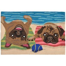 "Liora Manne Frontporch Pug Life Indoor/Outdoor Rug - Multi, 30"" by 48"""